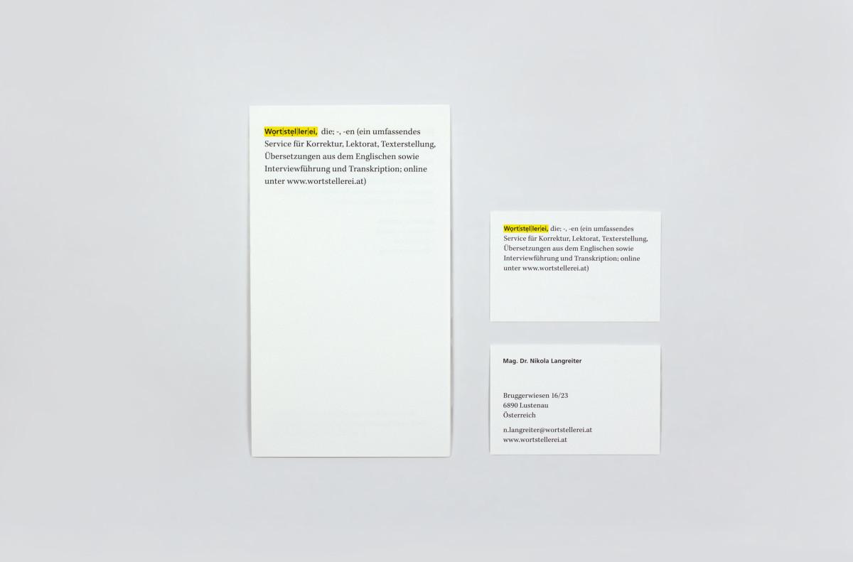 Wortstellerei printed matter