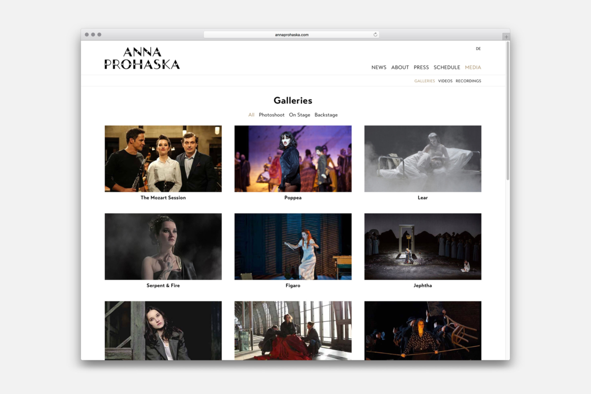 Anna Prohaska, website design